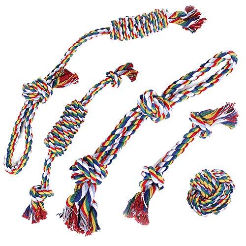 EONAZE Hundespielzeug Kleine Hunde Seil Knoten, aus natürlicher Baumwolle, Welpen Starterset für die Reinigung von Zähnen, Kauspielzeug Hunde Spielzeug für Kleine und Mittel Hunde (5 PCS)