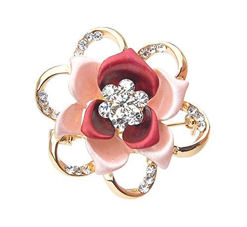 Broche Mode Party Diamond Flower Pin Suit Accessoires ROUGE
