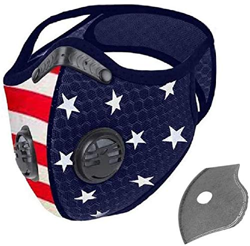 EFP USA American Flag Filtered Dust & Sports Face Mask for Men and Women | Windproof Breathable Nylon Mesh for Running, Cycling, Mowing, & Outdoor Activities | Includes 1 Face Mask