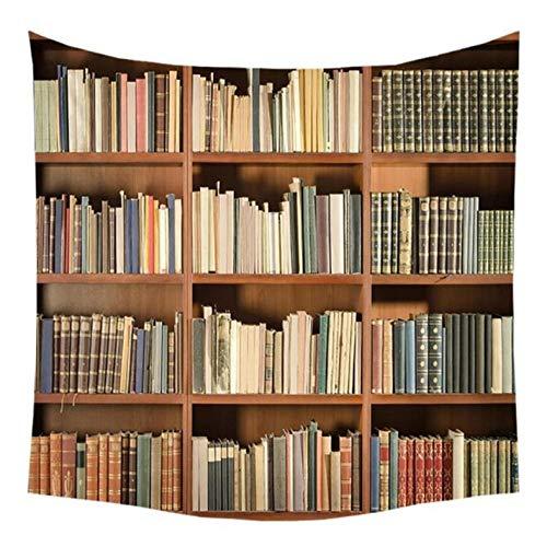 wrhua Libreria Vintage Stampa Arazzo Libro Pieno Arazzo da Parete Arte Appeso a Parete Coperta Mistero Biblioteca Spiaggia Yoga Tappeto Decorazione Hippie Arazzo Arazzo psichedelico200 × 150 cm
