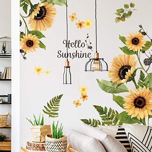 Sunflower Wall Stickers 3D Yellow Flower Wall Decals, Peel and Stick Removable Wall Art Decor, DIY Mural Wall Art Decor for Kids Room Nursery Classroom Living Room Bedroom Home Decoration