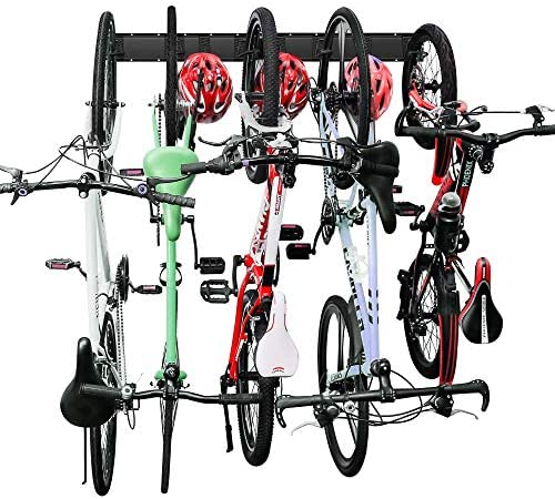 Bike Rack Garage Storage 5 Bicycles Hooks Wall Mount Bike Hanger Indoor Space Saving 8 Hooks product image