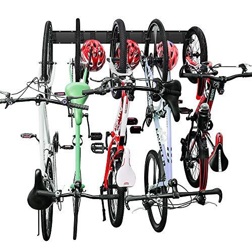Wallmaster Bike Storage Rack 5 Bicycles Hooks Wall Mount Bike Hanger Indoor Space Saving (8 Hooks and 3 Rails)