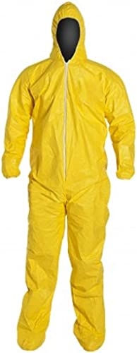 DuPont Tychem 2000 QC122S Disposable Chemical Resistant Coverall with Hood, Elastic Cuff and Serged Seams, Yellow 7XL...