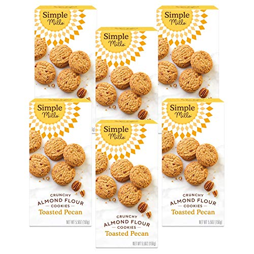 Simple Mills Almond Flour Toasted Pecan Cookies, Gluten Free and Delicious Crunchy Cookies, Organic Coconut Oil, Good for Snacks, Made with whole foods, 6 Count (Packaging May Vary)