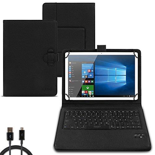 NAUC Tastatur Hülle für TrekStor SurfTab Twin 10.1 Tasche QWERTZ Bluetooth Schutzhülle Keyboard kabellos deutsche Tastatur QWERTZ Layout Hülle Cover