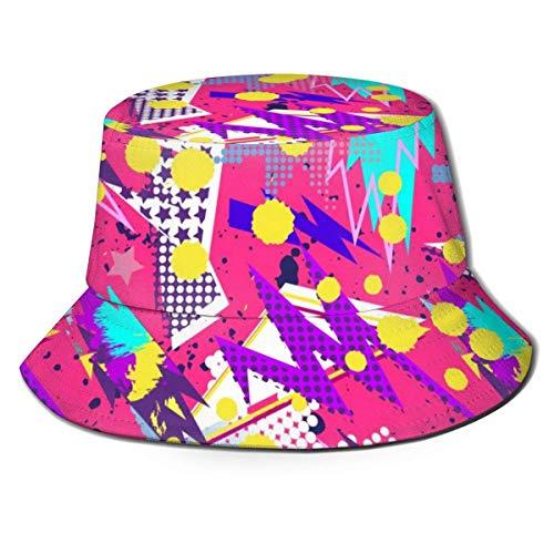 Sombrero de Cubo Transpirable Superior Plano Unisex Figuras geomtricas abstractas Sombrero de Cubo Sombrero de Pescador de Verano