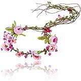 AWAYTR Boho Fleur Guirlande Bandeaux Couronne - Femmes Fille Arbre Réglable Rotin Feuille Fleur Floral Couronne De Mariage Photographie Décoration (Rose)