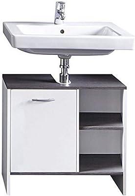 trendteam smart living San Diego Meuble sous lavabo avec beaucoup d'espace de rangement, Blanc/Argent fumée, 60 x 55 x 77 cm