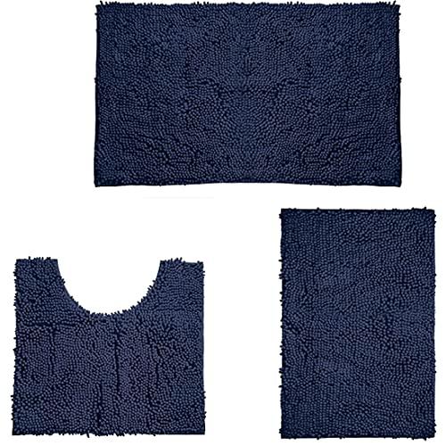 LOKWAXYA Badmat Driedelig pak, antislip absorberend zacht badtapijt, wasbaar badkamermat, gemakkelijk schoon moderne stoffen badmatten ideaal voor ouderen en kindercyaan