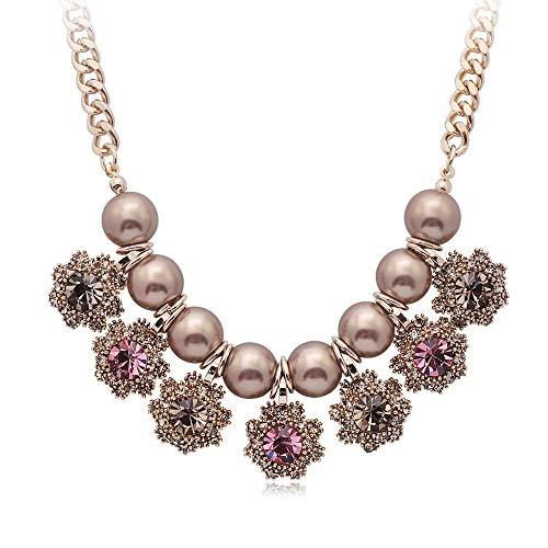 Collar, Colgante De Perlas Vintage, Cadena De SuéTer De ClavíCula, BisuteríA De Cristal, Regalos para Mujeres (DíA De San ValentíN, DíA De La Madre) (Color : Pink)