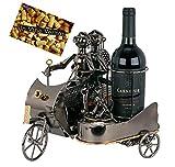 Brubaker Flaschenhalter Paar auf Motorrad mit Beiwagen Metall Skulptur Geschenk mit Geschenkkarte -