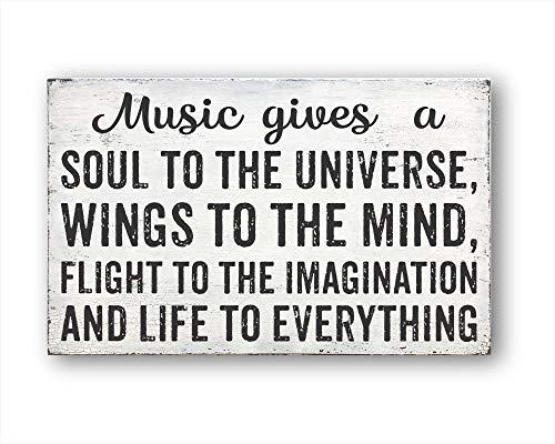 43LenaJon Music Gives A Soul To The Universe, Wings To The Mind, Flight to The Imagination and Life To Everything, decoración rústica para el hogar, decoración de Pared