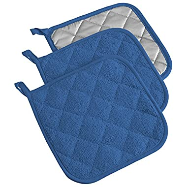 DII Cotton Terry Pot Holders, 7x7   Set of 3, Heat Resistant and Machine Washable Hot Pads for Kitchen Cooking and Baking-Blueberry
