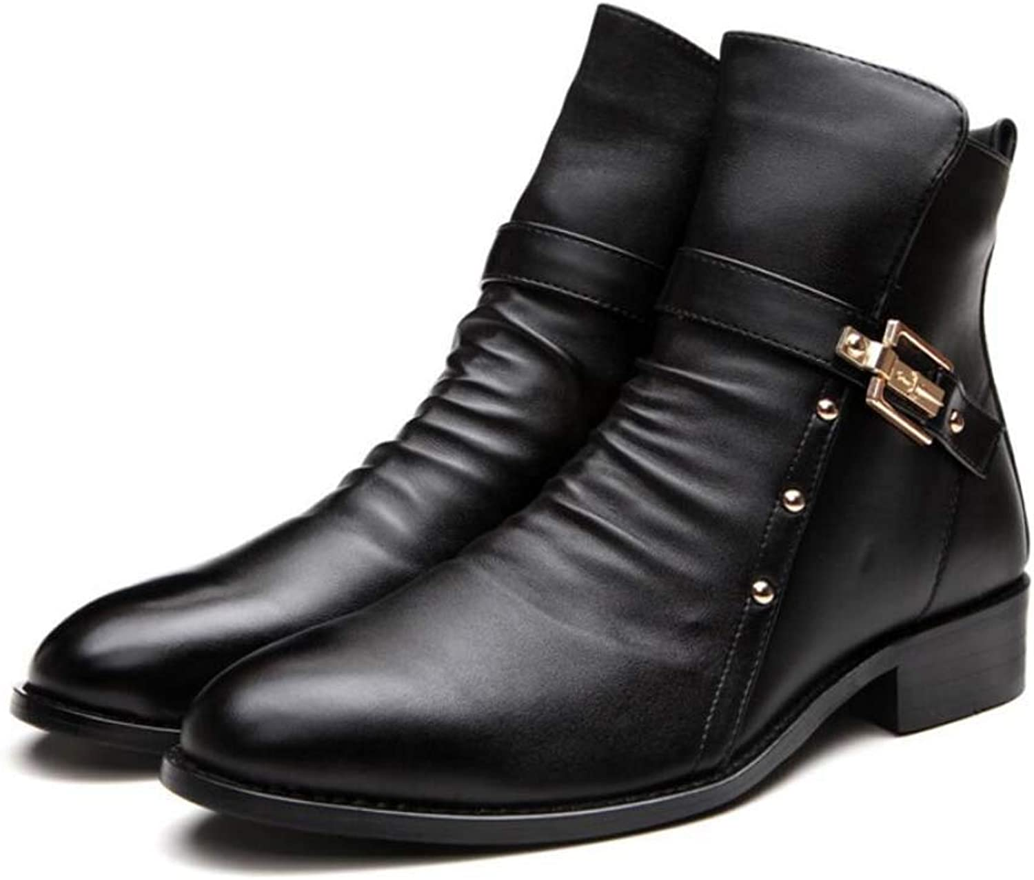 Retro Martin Boots Men Pointed Toe Belt Buckle Dress shoes Casual Motorcycle Boots Knight Boots EU Size 37-46