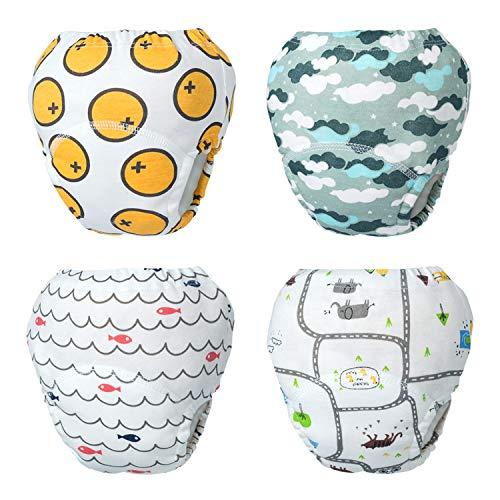 HBselect 4 pcs pañales Reutilizables Pañales De Entrenamiento Pañales Lavables Pañales Gasa Recién Nacidos Calzones De Entrenamiento Pantalones De Aprendizaje Al Baño para Bebés Niños Niñas