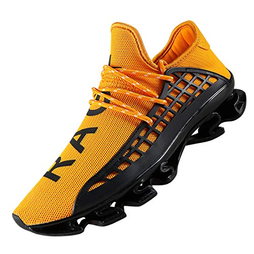 DUORO Men's Running Shoes Women's Casual Sneakers Breathable Mesh Slip on Blade Athletic Lightweight Tennis Sports Shoe for Men (10, Yellow)