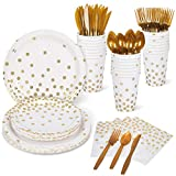 Decorlife Party Plates, White and Gold Party Supplies Set, 192PCS Serves 24, 12oz Cups for Adults, 48PCS Party Napkins, Disposable Plates, Gold Cutlery, for Graduation