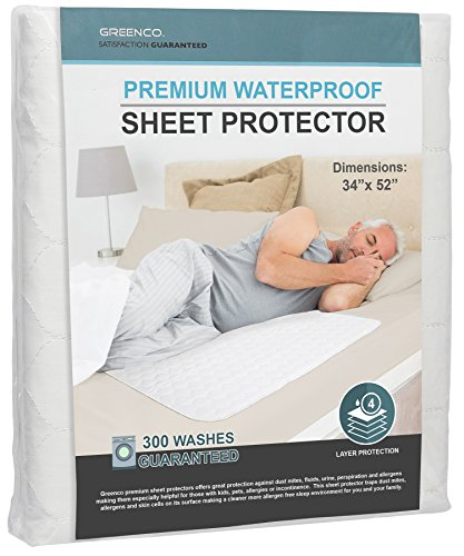Greenco Premium Hypoallergenic Waterproof Sheet Protector, 34 x 52 8 Cups Absorbency, 300 Machine Washes