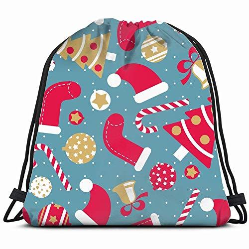 Leuke kerstzak met trekkoord, lichte sporttas voor dames en heren.