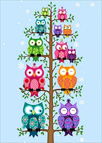 Colorful Owl Animals on Tree 5D Full Drill Diamond Painting Kits by Number, Round Rhinestone Paint with Diamonds Embroidery Cross Stitch Decor 16X12 inch