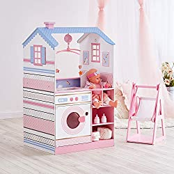 DESIGN: This retro and contemporary simulated play kitchen is sure to give children the most authentic cooking experience. DETAILS: Fits 16-18 inch baby doll, such as Bitty Baby, You & Me baby. A lot of functions for your kids to discover. Bath sink ...