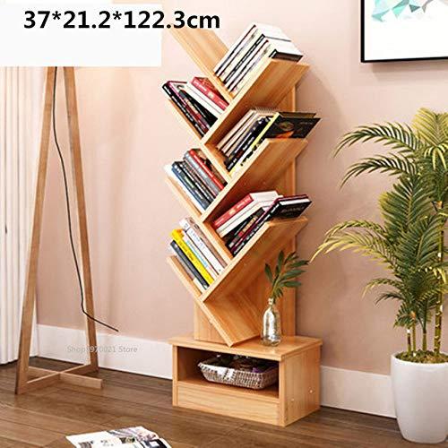 Boekenplank LKU Kantoor boekenkast, houten boekenplank, boom opbergrek, staande boekenkast, woonkamer, 6