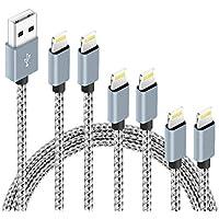 6-Pack Nylon Braided Certified Lightning Cable (3ft 3ft 6ft 6ft 10ft 10ft)