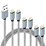 6Pack(3ft 3ft 6ft 6ft 10ft 10ft) For iPhone for Lightning Cable Certified Braided Nylon Fast Charger Cable Compatible with iPhone Max XS XR 8 Plus 7 Plus 6s 5s 5c Air iPad Mini iPod (Gray White)