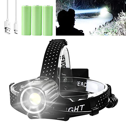 Rechargeable Headlamp, 10000 Lumens LED Headlamps for Adults, Hunting Headlamp Flashlight with Batteries Included, Zoomable, 3 Modes, Waterproof Headlight Flashlight for Hunting Running Fishing Biking