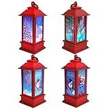 COCITY - Juego de 4 luces de Navidad para decoración navideña de Navidad con luz LED de noche de Papá Noel y muñeco de nieve para Navidad, invierno o fiesta decoración