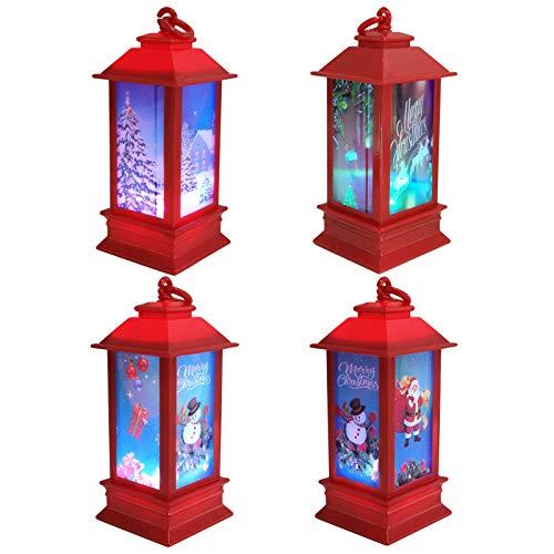 COCOCITY LED Nachtlicht, 4 Stück Windlicht, Weihnachten Deko Tischleuchte Hängelaterne für Garten,Terrasse,Garten,Hinterhöfe und Wege (Schneemann/Schlitten/Weihnachtsbaum/Weihnachtsmann) (Rot)