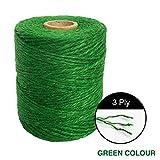 spago iuta, 500 piedi corda di iuta 3 strati spessore 2 mm, corda iuta per imballaggio, lavori artistici e artigianali, decorazione, messa in sicurezza di piante da giardino - verde
