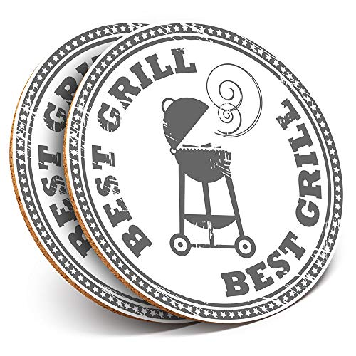 Great Coasters (Set of 2) Round with - BBQ Best Grill Summer Drink Glossy Coasters/Tabletop Protection for Any Table Type #7149