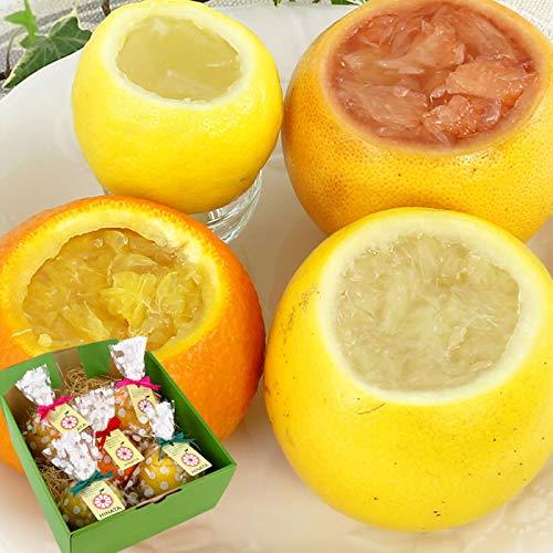 まるごと フルーツ ゼリー 5個セット (ピンクグレープフルーツ×2、ホワイトグレープフルーツ×1、甘夏×1、レモン×1)