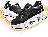 SHHAN Patines De Ruedas Adulto Multifunción Deformación Zapatos Doble Fila Cuatro Ruedas Ajustables Polea Zapatos para Hombres Y Niños Deportes Al Aire,Black Gray,36