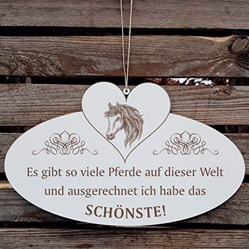 Bord decoratiebord met hart « Andalusier - Mooi paard van de wereld » ca. 20 x 12 cm - met motief en spreuk - Shabby Vintage houten bord deurplaat - paarden geschenk ruiter