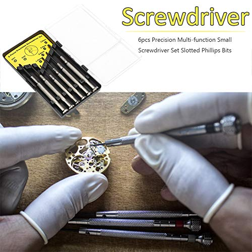Precision Screwdriver Set,Small 6Pcs Different Size Flathead and Phillips Screwdrivers for Eyeglass, Toys,Watch, Jewelers, Electronic Devices, Game Controllers, DIY Projects (6PCS, Black)