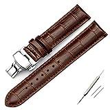 11Straps【Dバックル付属】本革製 クロコダイル型押し 時計ベルト【バネ棒&バネ棒外し付属】 (20mm, ダークブラウン)