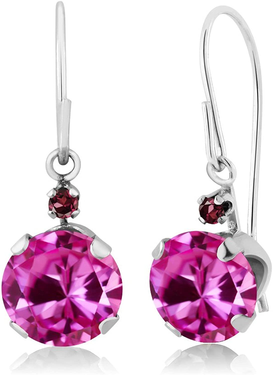 2.05 Ct Round Pink Created Sapphire Red Rhodolite Garnet 14K White gold Earrings