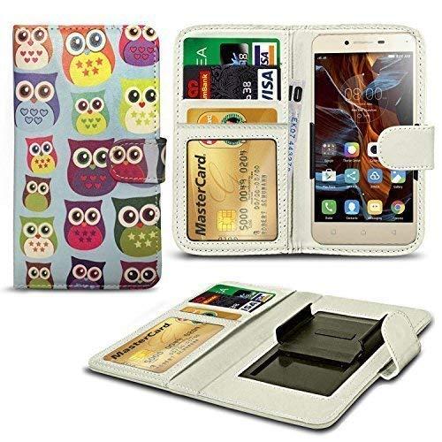 N4U Online® Verschiedene Muster Clip Serie Kunstleder Brieftasche Hülle für Allview E3 Living - Eule