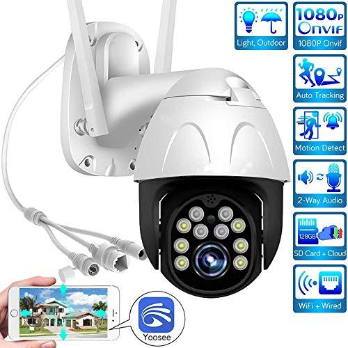 AINSS IP-PTZ-Kamera für den Außenbereich 1080P WiFi-Kamera CCTV-Kamera Zwei-Wege-Audio wasserdichte Bewegungserkennung Mobile Tracking für Garagen-Hinterhof-Geschäfte usw. (WiFi-Kamera+16GB)
