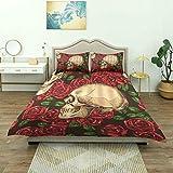 Funda nórdica, cráneo floral de Halloween, cráneo de terror con rosas rojas, patrón de hojas de plantas, estampado de ilustraciones de tonos vintage, juego de ropa de cama de lujo, cómodo y liviano de