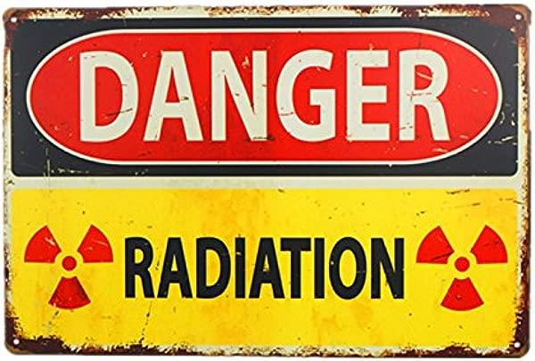 Dingleiever Danger Sign Danger Radiation Allied Military Vintage Metal Sign Funny Vintage Signs
