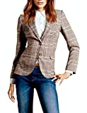 Yeokou Women's Slim Fit Elbow Patch Two Buttons Plaid Suit Blazer Jacket Coat(Khaki-L)