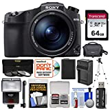 Sony Cyber-Shot DSC-RX10 IV 4K Wi-Fi Digital Camera with 64GB Card + Case + Flash + Battery & Charger + Tripod + 3 UV/CPL/ND8 Filters + Kit