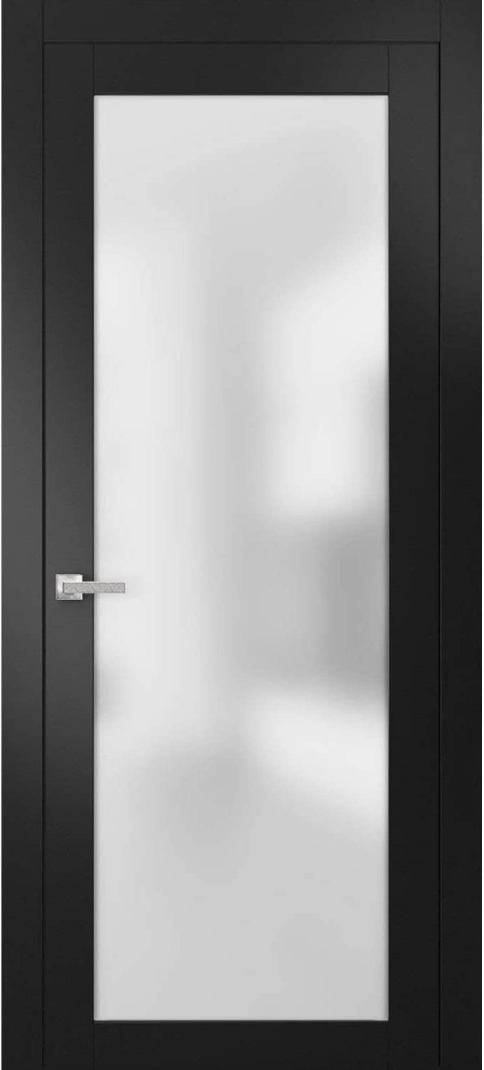 Modern Solid French Door Frosted Glass 32 X 80 Inches With Handle Planum 2102 Black Matte Single Regural Panel Frame Trims Bathroom Bedroom Sturdy Doors Amazon Com