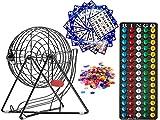 "MR CHIPS 11 Inch Tall Professional Bingo Set with Steel Bingo Cage, Everlasting 7/8"" Bingo Balls, 18 Bingo Cards and 300 Bingo Chips - Mysterious Black"