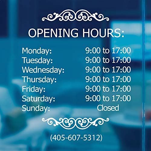 LOKAUS Professional Business Hours Sign Kit, 20x20 Inches Changeable Signs for Business, Customize Window Sign for Business, Outside Retail Hours of Operation Sign, Store Hours Sign.