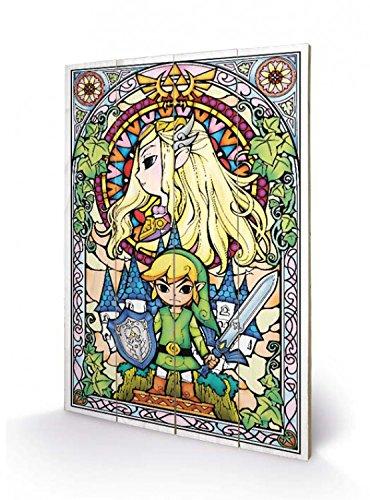 Preisvergleich Produktbild 1art1 The Legend of Zelda - Stained Glass Poster Auf Holz 60 x 40 cm